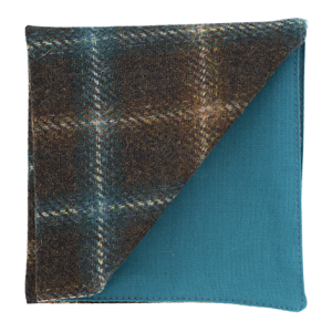 JAGGS_costume_sur_mesure_Belgique_waterloo_bruxelles_pochette_TWEED_Holland_and_Sherry_MARRON_TURQUOISE_CARREAUX_Fort_william_do