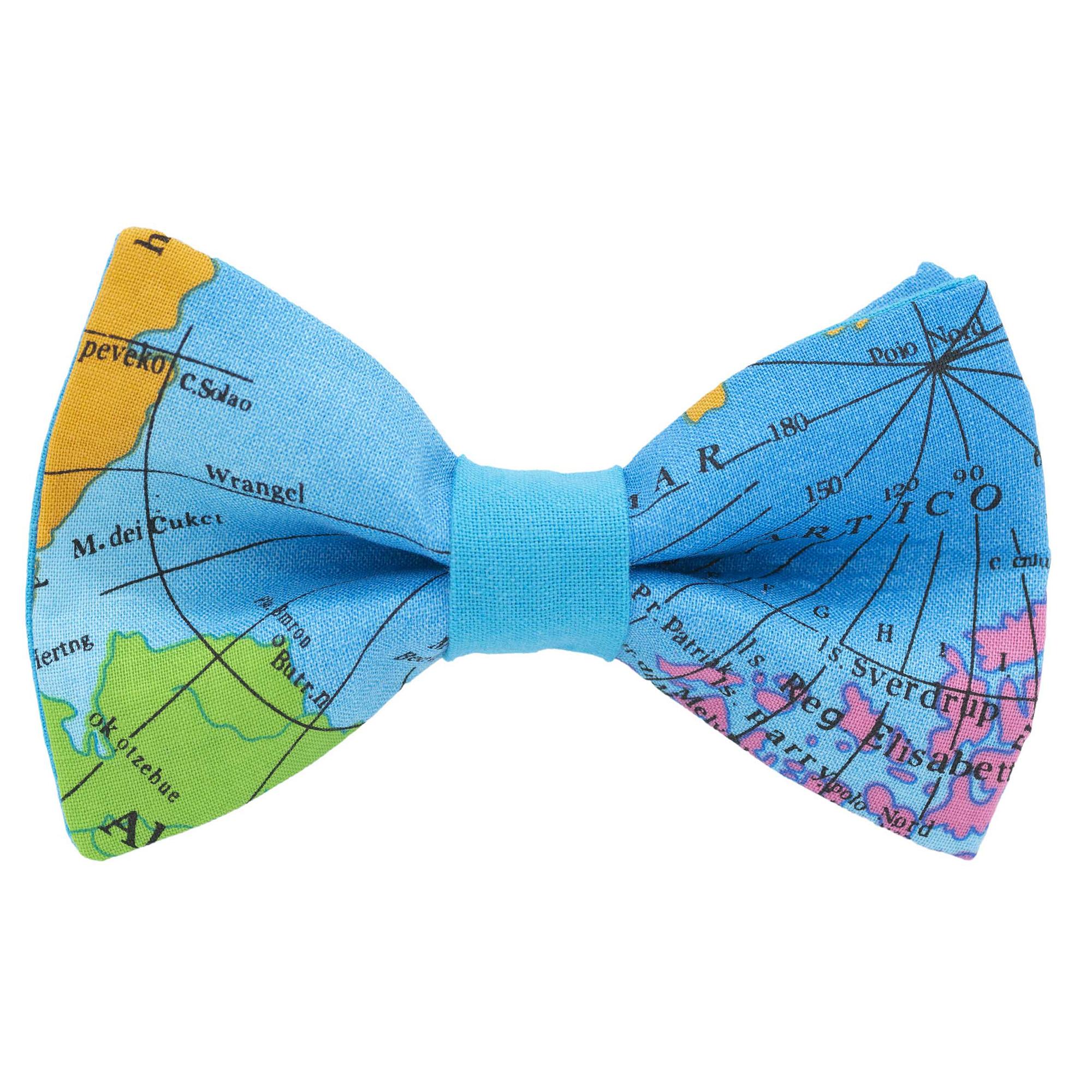 Noeud papillon bois mappemonde  noeud mariage  globe-trotter