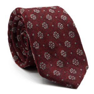 JAGGS-costumes-chemises-sur-mesure-cravate-7-plis-en-laine-William-bordeaux-motifs-fleurs-blanches