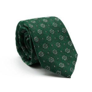 JAGGS-costumes-chemises-sur-mesure-cravate-7-plis-en-laine-William-verte-motifs-fleurs-blanches