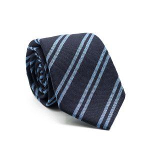 JAGGS-costumes-chemises-sur-mesure-cravate-7-plis-en-laine-George-bleu-marine-rayée-bleu-ciel