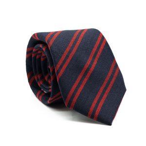 JAGGS-costumes-chemises-sur-mesure-cravate-7-plis-en-laine-George-bleu-marine-rayée-rouge