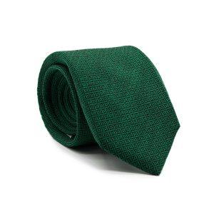 JAGGS-cravate-7-plis-soie-et-laine-OLIVER-verte-motifs-noirs