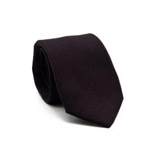 JAGGS-cravate-7-plis-soie-et-laine-OLIVER-aubergine-motifs-noirs