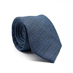 JAGGS-cravate-7-plis-soie-et-laine-OLIVER-bleu-ciel-motifs-noirs