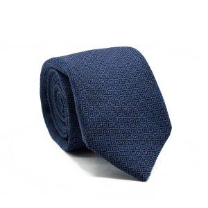 JAGGS-cravate-7-plis-soie-et-laine-OLIVER-bleue-motifs-noirs