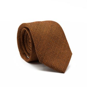 JAGGS-cravate-7-plis-soie-et-laine-OLIVER-orange-motifs-noirs