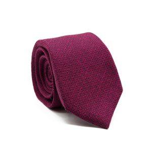 JAGGS-cravate-7-plis-soie-et-laine-OLIVER-rose-magenta-motifs-noirs
