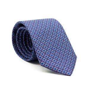 JAGGS-cravate-en-soie-ARCHIE-bleue-anneaux-rouges-et-blancs