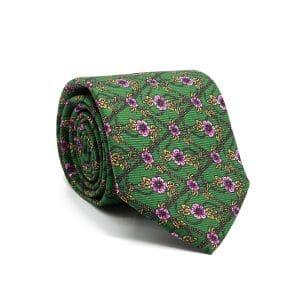 JAGGS-cravate-en-soie-ELTON-verte-fleurs-mauves