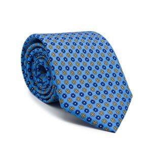 JAGGS-cravate-en-soie-HARRISON-bleu-ciel-moifs-bleus-et-jaunes