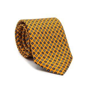 JAGGS-cravate-en-soie-HARRISON-orange-moifs-bleu-marine-et-bleu-ciel