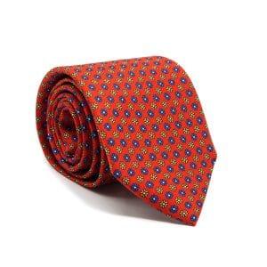 JAGGS-cravate-en-soie-HARRISON-rouge-moifs-bleus-et-jaunes