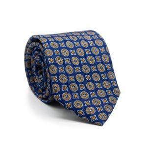 JAGGS-cravate-en-soie-JAMES-bleu-marine-motifs-orange