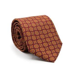 JAGGS-cravate-en-soie-JAMES-bordeaux-motifs-orange