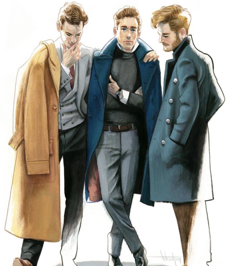 Illustration de Fernandno Vicente de trois hommes élégants