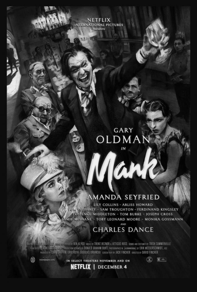 Affiche de Mank avec Gary Oldman et costumes de Trish Summerville