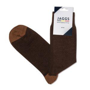 JAGGS-chaussettes-coton-homme-unies-marron