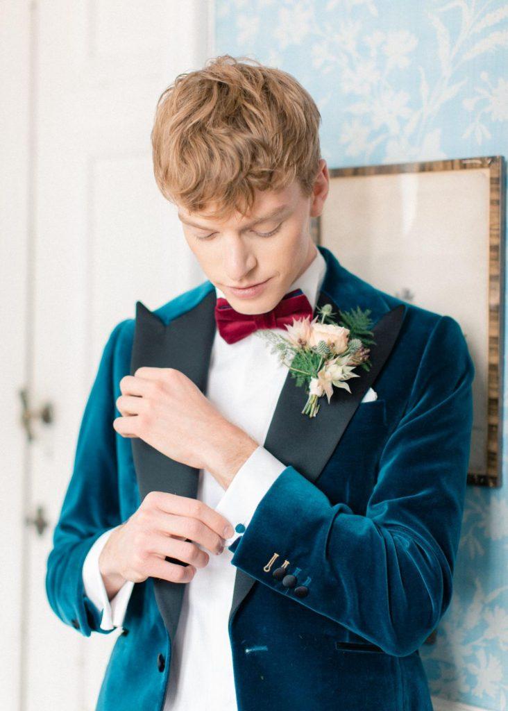 Boutons de manchettes pour smoking de mariage bleu