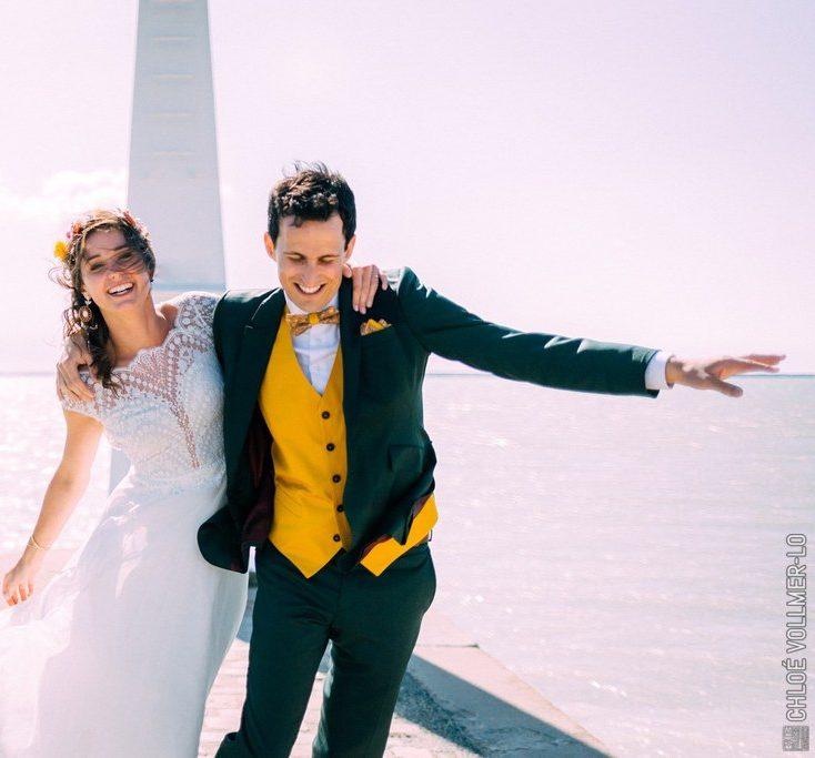 Costume de mariage vert pour homme sur-mesure avec gilet jaune